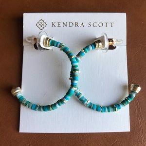 Kendra Scott Reece Gold Sea Green hoop earrings